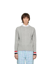 Thom Browne Grey Merino Aran Cable Sweater