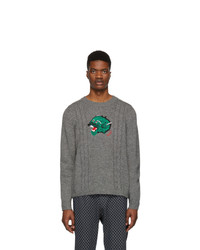 Gucci Grey Wool Panther Face Sweater