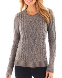7ecbb9ed079 ... jcpenney Jcp Long Sleeve Chunky Cable Sweater