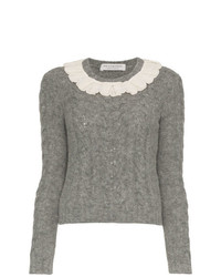 Philosophy di Lorenzo Serafini Lace Collar Wool Blend Sweater