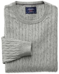 Charles Tyrwhitt Light Grey Cotton Cashmere Cable Crew Neck Cottoncashmere Sweater Size Large By