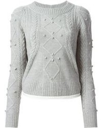 Luck crew neck cable knit sweater medium 89237