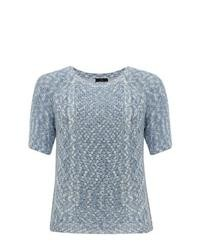 M&Co Short Sleeve Cable Knit Jumper Wedgewood Blue 14