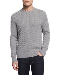 Tom Ford Melange Cable Knit Cashmere Blend Sweater Light Gray
