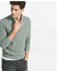 Express Mix Cable Knit Shawl Collar Popover
