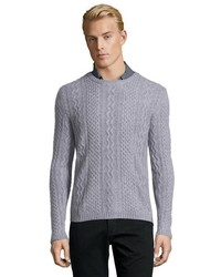 Harrison Oatmeal Cable Knit Cashmere Crewneck Sweater