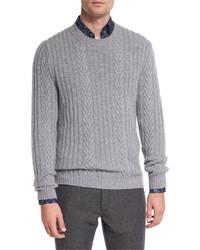 Ermenegildo Zegna Pure Cashmere Modern Cable Knit Sweater Gray