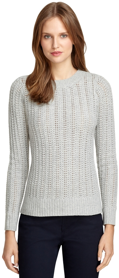 Brooks Brothers Saxxon Wool Cable Knit Crewneck Sweater | Where to ...