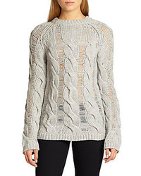 Carven Shred Paneled Cable Knit Wool Sweater