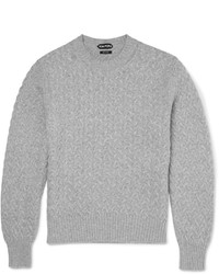 Tom Ford Slim Fit Cable Knit Cotton And Cashmere Blend Sweater