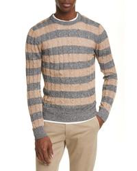 Eleventy Slim Fit Cable Knit Linen Cotton Crewneck Sweater