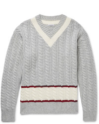 Tomas Maier Slim Fit Cable Knit Wool Cricket Sweater