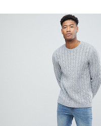 Asos Tall Cable Knit Sweater In Gray