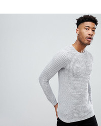 Asos Tall Lightweight Muscle Fit Cable Knit Sweater In Gray