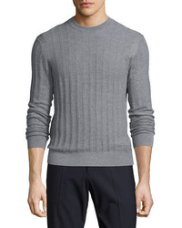 Theory Salins Castellos Merino Wool Crewneck Sweater Gray