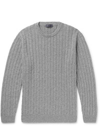 Thom Sweeney Slim Fit Cable Knit Cashmere Sweater