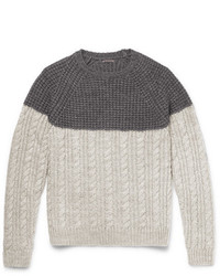 Barena Two Tone Waffle And Cable Knit Wool Blend Sweater