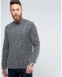 Asos Wool Mix Hand Knitted Sweater With Cable Design