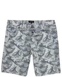 River Island Grey Camo Frayed Shorts