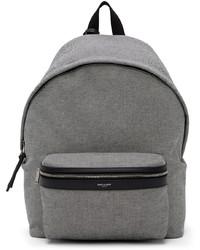 Saint Laurent Black White Nylon Leather City Backpack