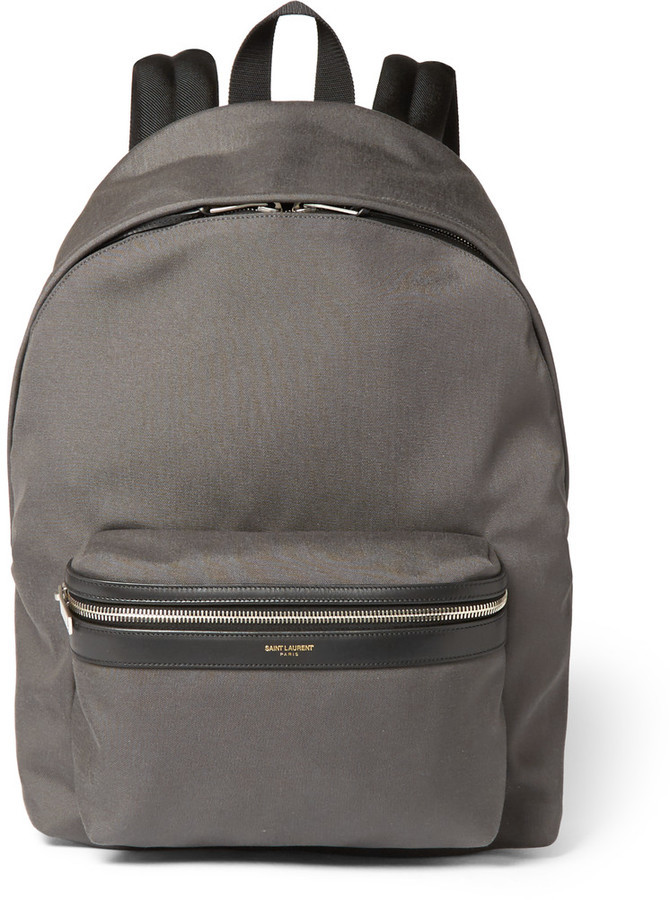 cc2bb1129a81c0 ... Grey Canvas Backpacks Saint Laurent Leather Trimmed Canvas Backpack ...