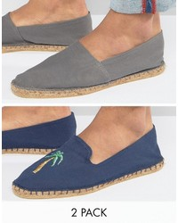 Asos 2 Pack Espadrilles In Navy And Gray With Palm Tree Print Save