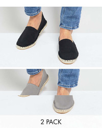 Asos Canvas Espadrilles In Black And Gray 2 Pack Save