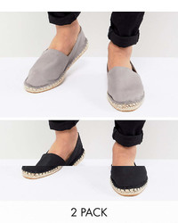 Asos Design Wide Fit Canvas Espadrilles In Black And Gray 2 Pack Save