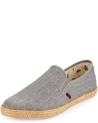 Ben Sherman Jenson Canvas Slip On Sneaker Gray Linen