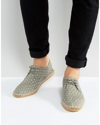 Asos Lace Up Espadrilles In Gray With Star Print