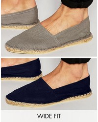 Asos Wide Fit Espadrilles In Gray And Navy 2 Pack Save