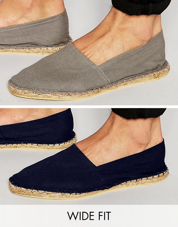 Asos Wide Fit Espadrilles In Gray And