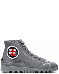 Grey gabardine high top sneakers medium 6990276