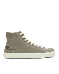 Maison Margiela Taupe Canvas Tabi High Top Sneakers