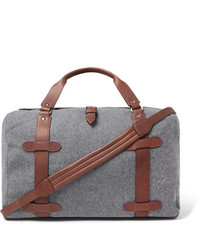 Brunello Cucinelli Leather Trimmed Wool Holdall