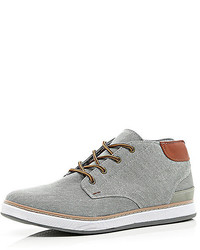 River Island Grey Canvas Mid Tops