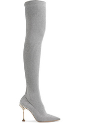 Miu Miu Crystal Embellished Metallic Ribbed Knit Over The Knee Sock Boots