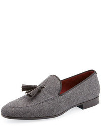 Magnanni For Neiman Marcus Flannel Tassel Loafer Gray