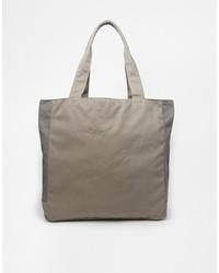 Asos Brand Tote Bag In Gray