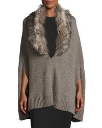 Three Dots Alex Poncho W Removable Faux Fur Mink