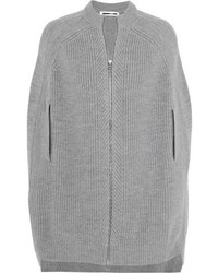 McQ by Alexander McQueen Mcq Alexander Mcqueen Ribbed Wool Cape Gray