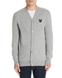 Comme Des Garcons Play Black Heart Wool Cardigan