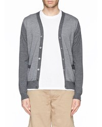 Canali Contrast Sleeve Diagonal Stripe Wool Cardigan