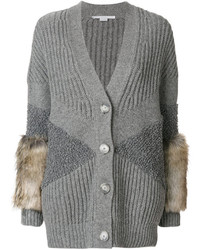Fur trimmed cardigan medium 4991015