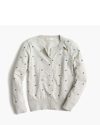 J.Crew Girls Caroline Cardigan Sweater With Hearts And Bees