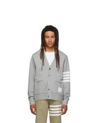 Thom Browne Grey 4 Bar V Neck Cardigan