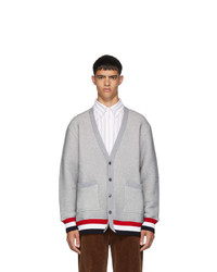 Thom Browne Grey Chunky Loopback Oversized V Neck Cardigan