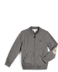 Burberry Jaxson Zip Front Cotton Cardigan Medium Gray Size 4 14