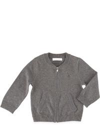Burberry Jaxston Cotton Zip Front Cardigan Medium Gray Size 6m 3y