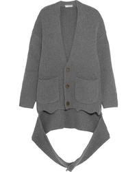 Balenciaga Oversized Draped Ribbed Cashmere Blend Cardigan Gray